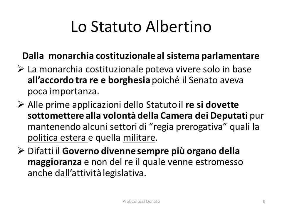 Lo Statuto Albertino Dalla monarchia costituzionale al sistema parlamentare La monarchia costituzionale poteva vivere solo in base allaccordo tra re e borghesia poiché il Senato aveva poca importanza.