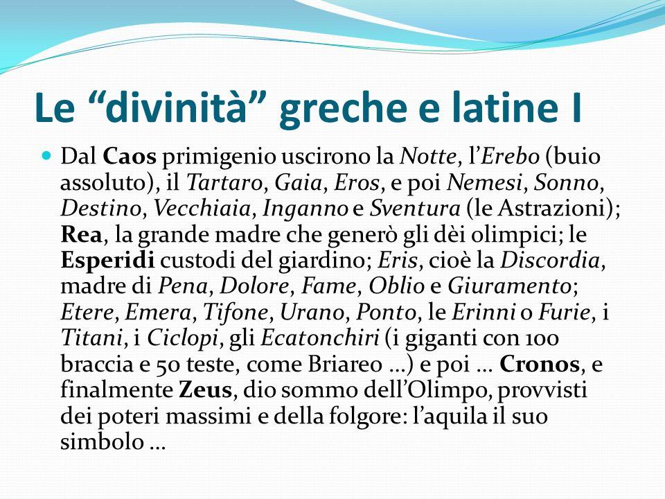 Le divinità greche e latine I Dal Caos primigenio uscirono la Notte, lErebo (buio assoluto), il Tartaro, Gaia, Eros, e poi Nemesi, Sonno, Destino, Vec