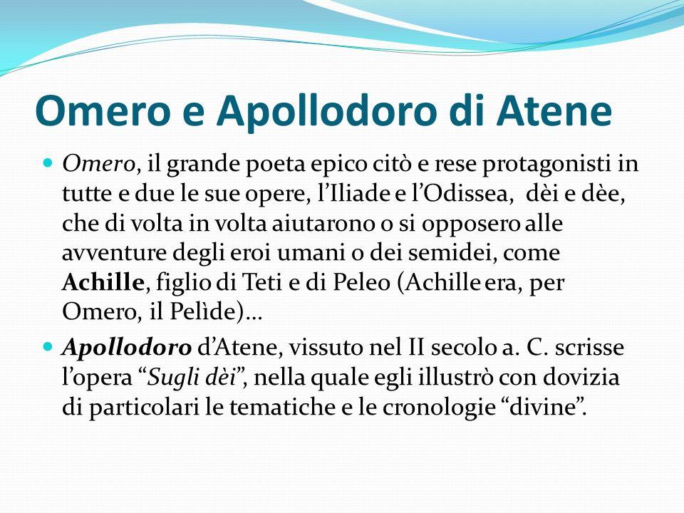 Omero e Apollodoro di Atene Omero, il grande poeta epico citò e rese protagonisti in tutte e due le sue opere, lIliade e lOdissea, dèi e dèe, che di v