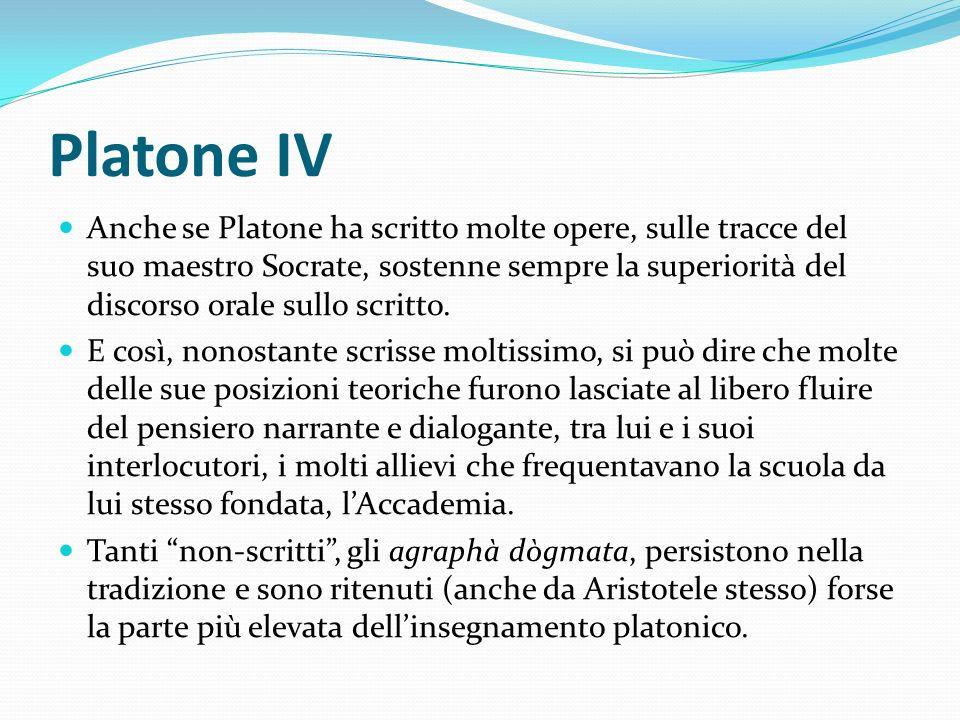 Platone IV Anche se Platone ha scritto molte opere, sulle tracce del suo maestro Socrate, sostenne sempre la superiorità del discorso orale sullo scri