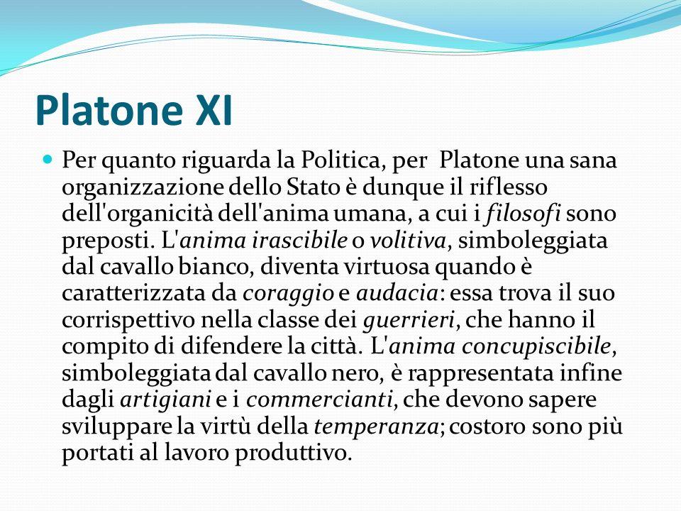 Platone XI Per quanto riguarda la Politica, per Platone una sana organizzazione dello Stato è dunque il riflesso dell'organicità dell'anima umana, a c
