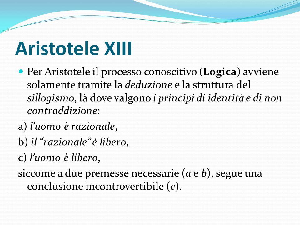 Aristotele XIII Per Aristotele il processo conoscitivo (Logica) avviene solamente tramite la deduzione e la struttura del sillogismo, là dove valgono