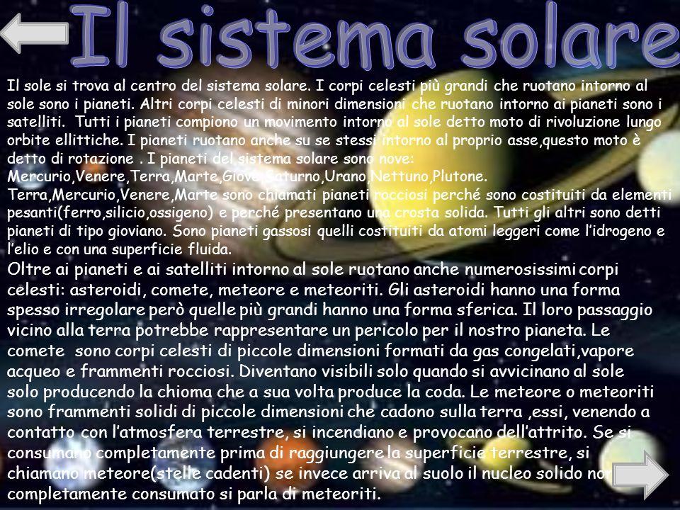 Il sole si trova al centro del sistema solare.