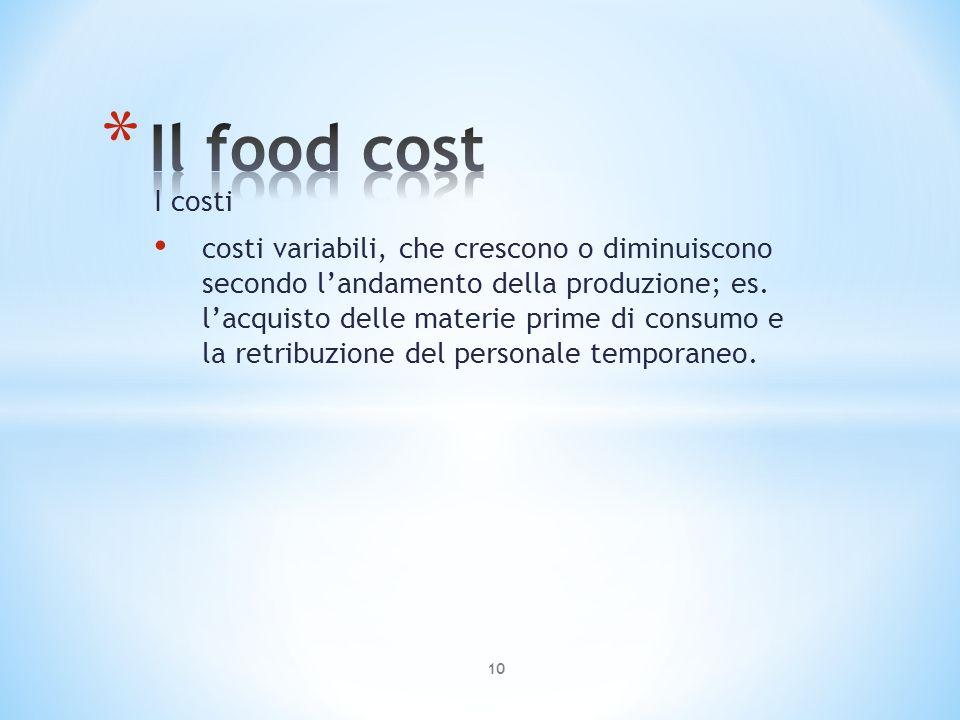 I costi costi variabili, che crescono o diminuiscono secondo landamento della produzione; es. lacquisto delle materie prime di consumo e la retribuzio