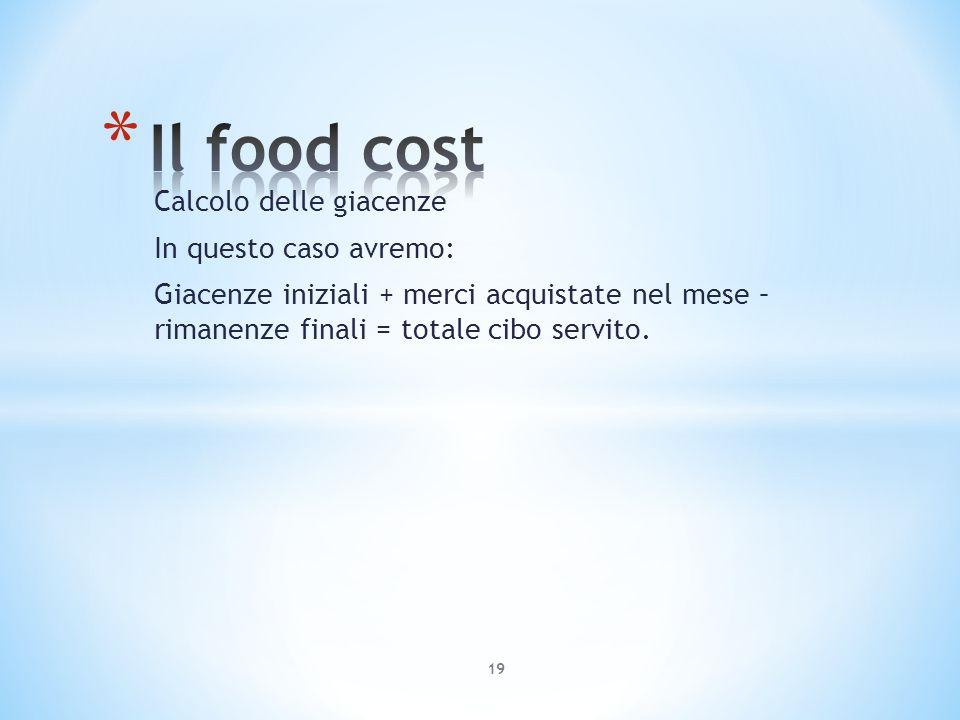 Calcolo delle giacenze In questo caso avremo: Giacenze iniziali + merci acquistate nel mese – rimanenze finali = totale cibo servito. 19
