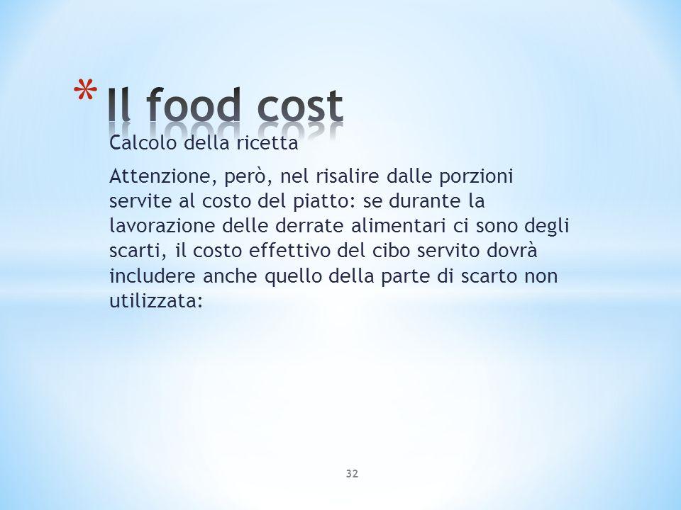 Calcolo della ricetta Attenzione, però, nel risalire dalle porzioni servite al costo del piatto: se durante la lavorazione delle derrate alimentari ci