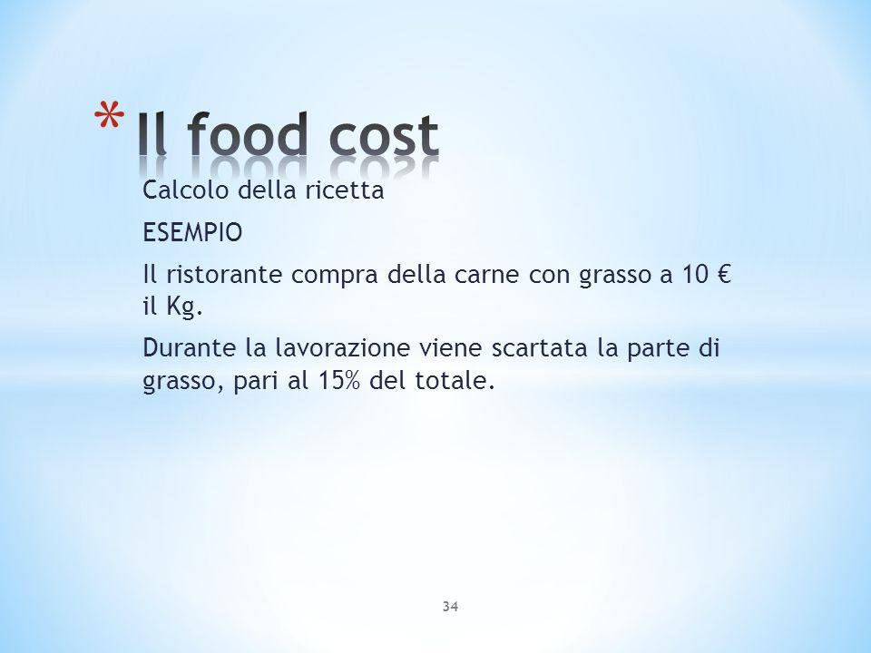 Calcolo della ricetta ESEMPIO Il ristorante compra della carne con grasso a 10 il Kg. Durante la lavorazione viene scartata la parte di grasso, pari a