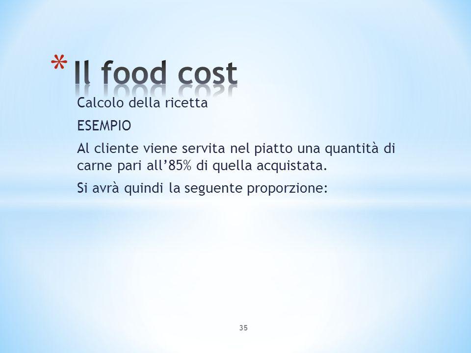 Calcolo della ricetta ESEMPIO Al cliente viene servita nel piatto una quantità di carne pari all85% di quella acquistata. Si avrà quindi la seguente p