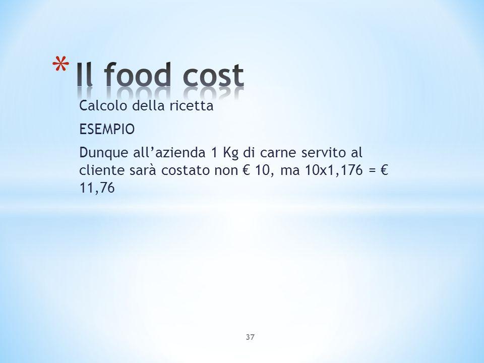 Calcolo della ricetta ESEMPIO Dunque allazienda 1 Kg di carne servito al cliente sarà costato non 10, ma 10x1,176 = 11,76 37