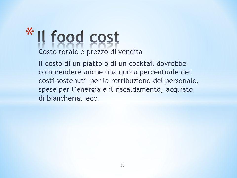 Costo totale e prezzo di vendita Il costo di un piatto o di un cocktail dovrebbe comprendere anche una quota percentuale dei costi sostenuti per la re