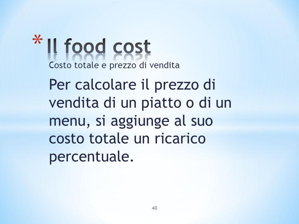 Costo totale e prezzo di vendita Per calcolare il prezzo di vendita di un piatto o di un menu, si aggiunge al suo costo totale un ricarico percentuale