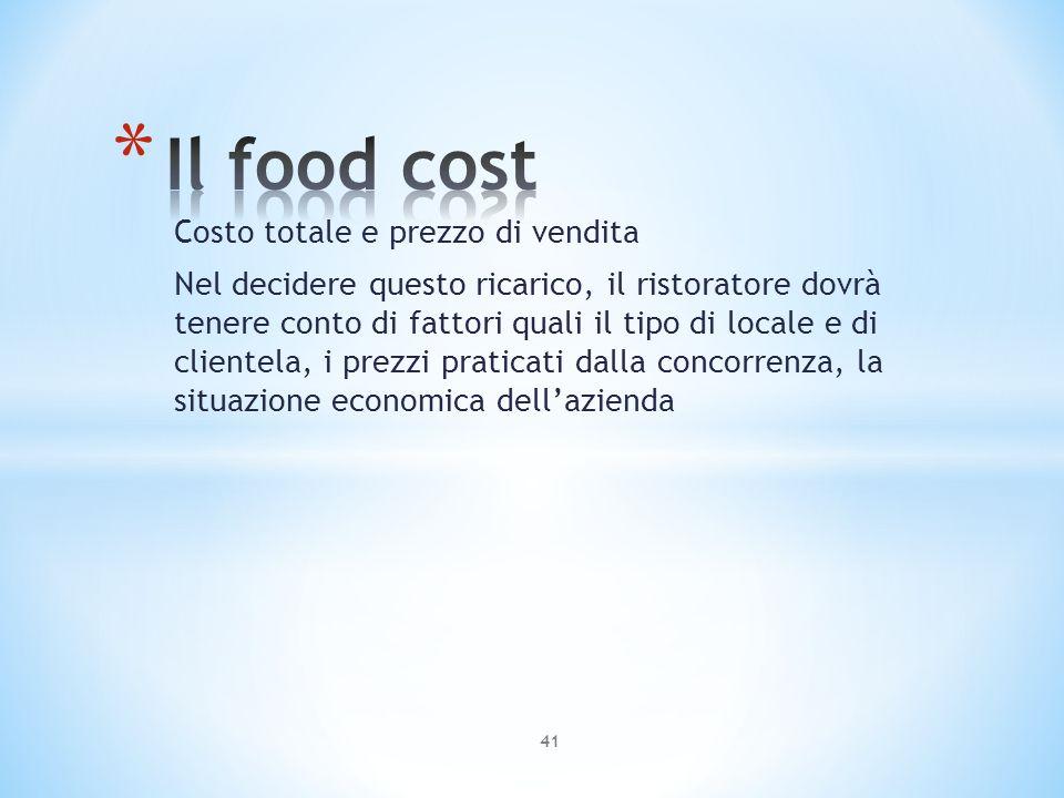 Costo totale e prezzo di vendita Nel decidere questo ricarico, il ristoratore dovrà tenere conto di fattori quali il tipo di locale e di clientela, i