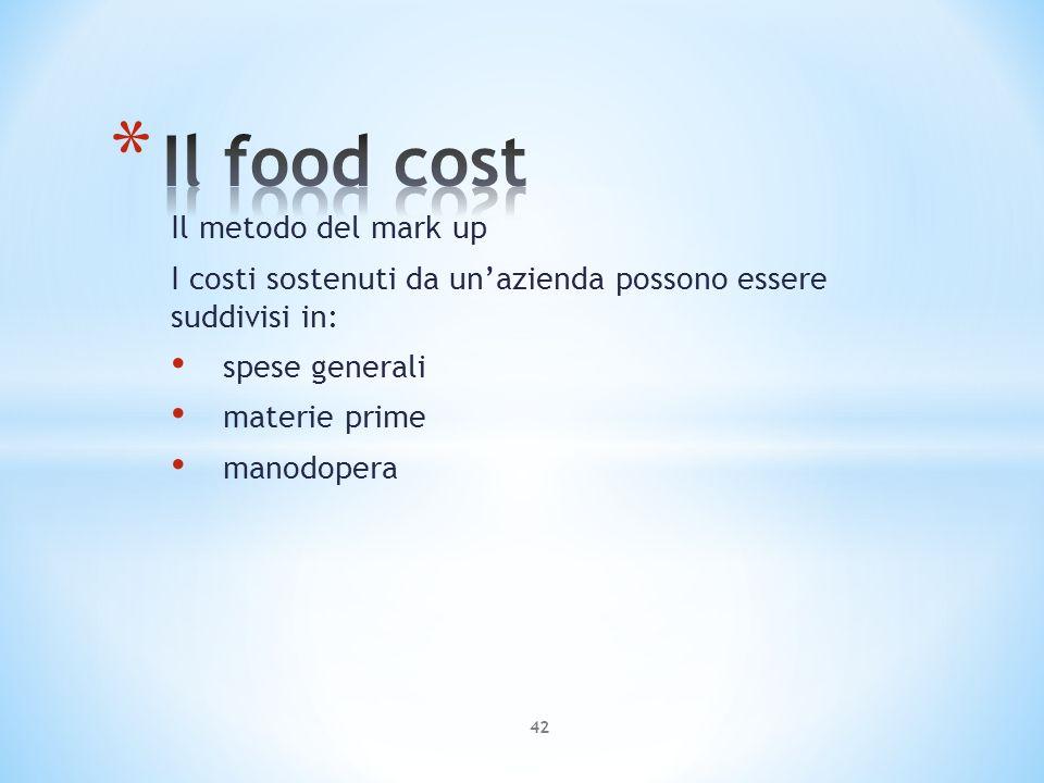 Il metodo del mark up I costi sostenuti da unazienda possono essere suddivisi in: spese generali materie prime manodopera 42