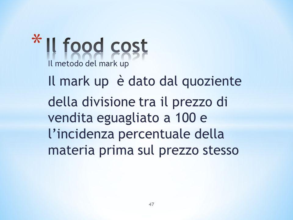 Il metodo del mark up Il mark up è dato dal quoziente della divisione tra il prezzo di vendita eguagliato a 100 e lincidenza percentuale della materia