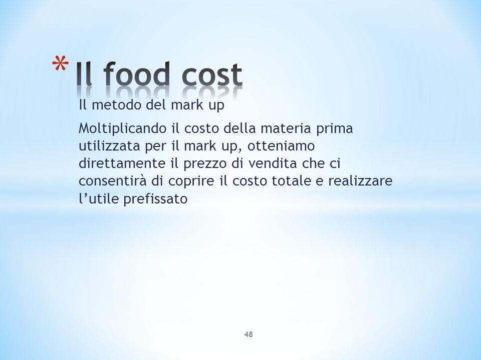 Il metodo del mark up Moltiplicando il costo della materia prima utilizzata per il mark up, otteniamo direttamente il prezzo di vendita che ci consent
