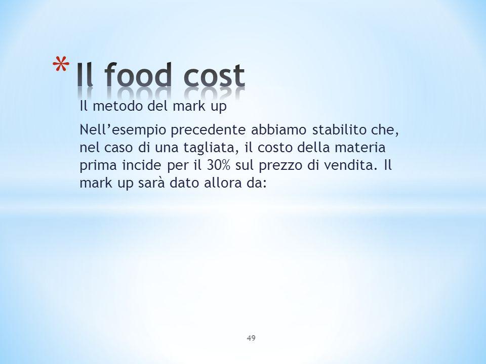 Il metodo del mark up Nellesempio precedente abbiamo stabilito che, nel caso di una tagliata, il costo della materia prima incide per il 30% sul prezz
