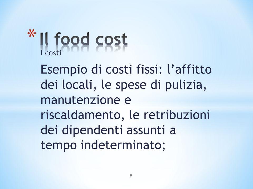 Costo totale e prezzo di vendita Per calcolare il prezzo di vendita di un piatto o di un menu, si aggiunge al suo costo totale un ricarico percentuale.