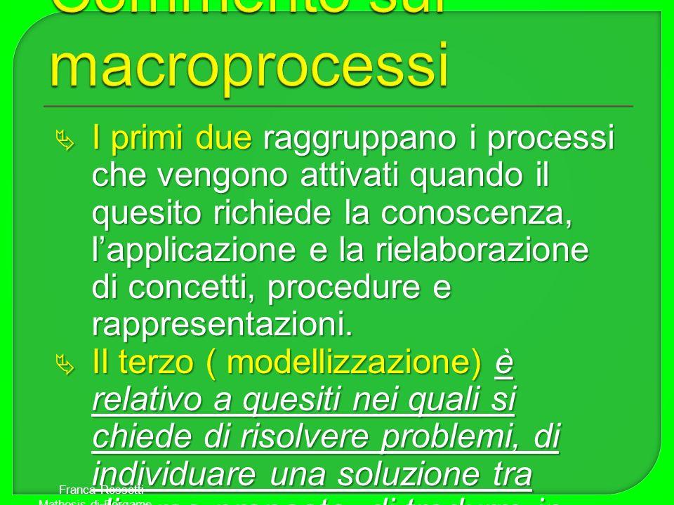 I primi due raggruppano i processi che vengono attivati quando il quesito richiede la conoscenza, lapplicazione e la rielaborazione di concetti, proce
