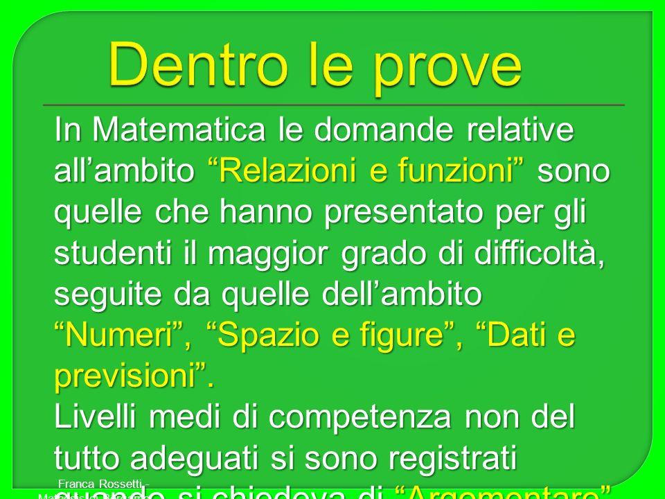 In Matematica le domande relative allambito Relazioni e funzioni sono quelle che hanno presentato per gli studenti il maggior grado di difficoltà, seg