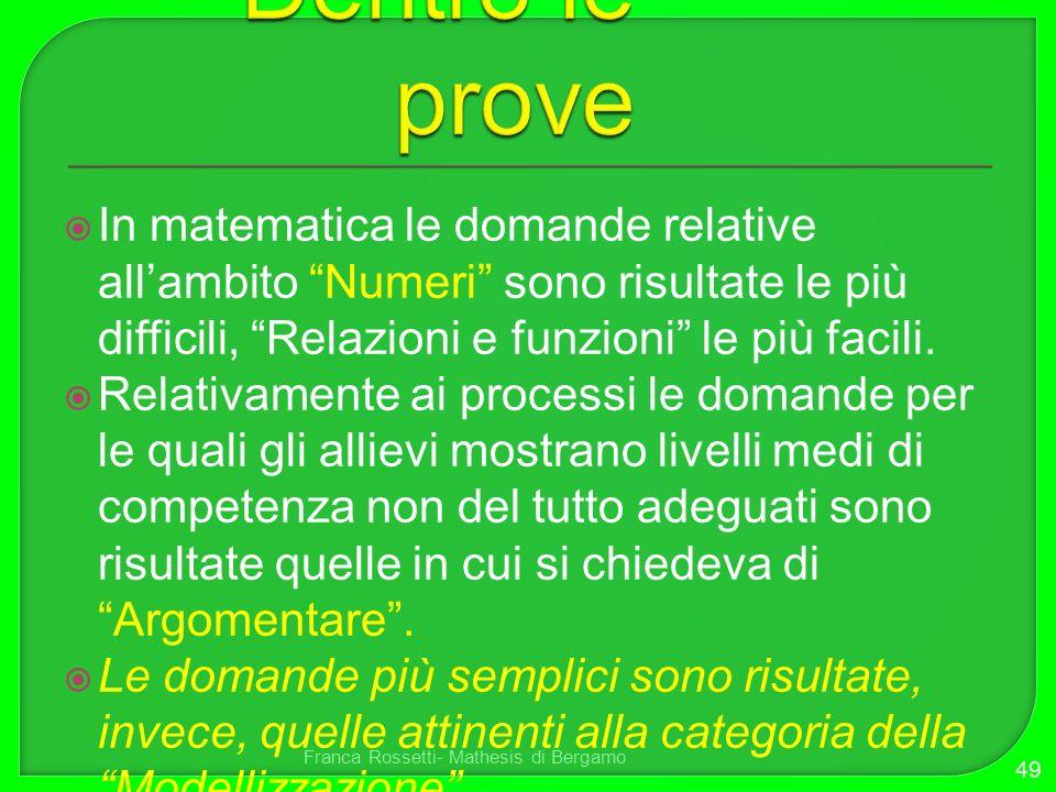 In matematica le domande relative allambito Numeri sono risultate le più difficili, Relazioni e funzioni le più facili. Relativamente ai processi le d