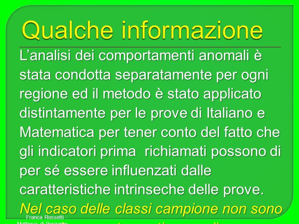 Lanalisi dei comportamenti anomali è stata condotta separatamente per ogni regione ed il metodo è stato applicato distintamente per le prove di Italia