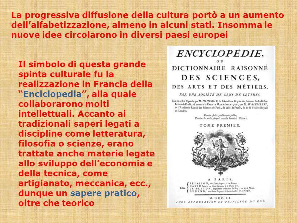 La progressiva diffusione della cultura portò a un aumento dellalfabetizzazione, almeno in alcuni stati. Insomma le nuove idee circolarono in diversi