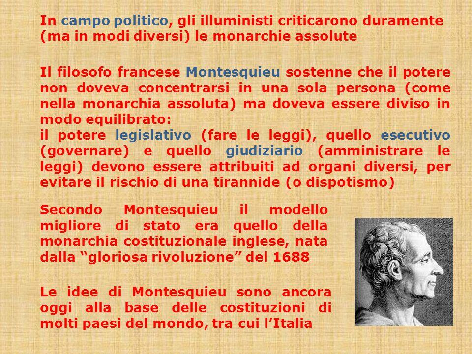 In campo politico, gli illuministi criticarono duramente (ma in modi diversi) le monarchie assolute Il filosofo francese Montesquieu sostenne che il p