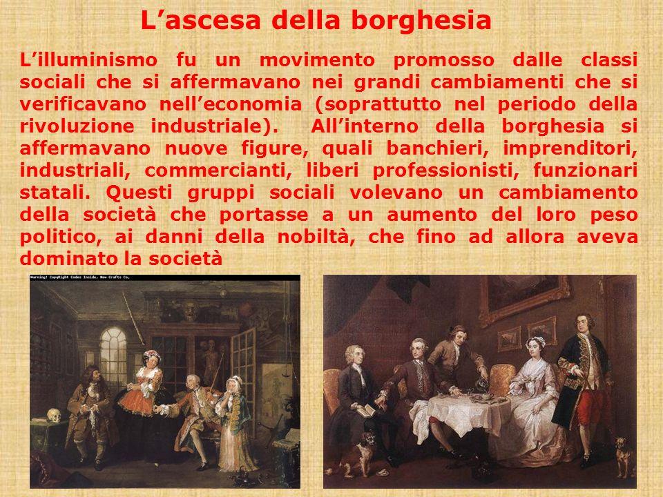 Lilluminismo fu un movimento promosso dalle classi sociali che si affermavano nei grandi cambiamenti che si verificavano nelleconomia (soprattutto nel