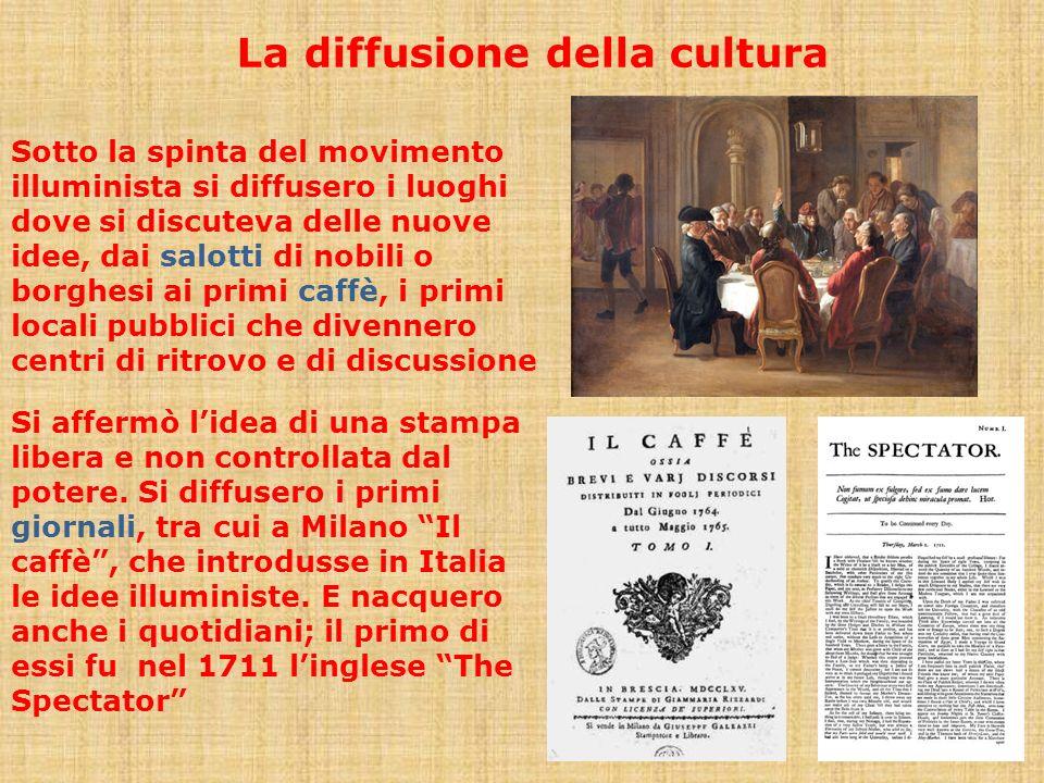 La diffusione della cultura Sotto la spinta del movimento illuminista si diffusero i luoghi dove si discuteva delle nuove idee, dai salotti di nobili