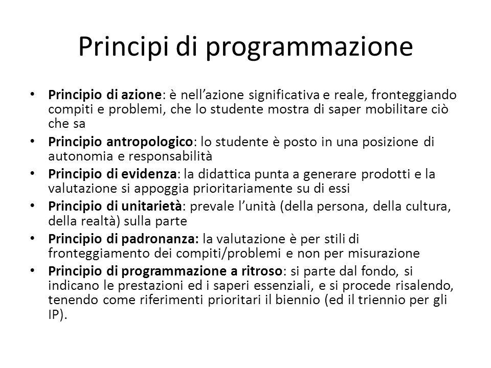 Principi di programmazione Principio di azione: è nellazione significativa e reale, fronteggiando compiti e problemi, che lo studente mostra di saper
