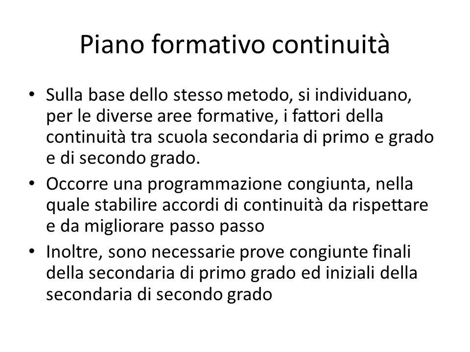 Piano formativo continuità Sulla base dello stesso metodo, si individuano, per le diverse aree formative, i fattori della continuità tra scuola second