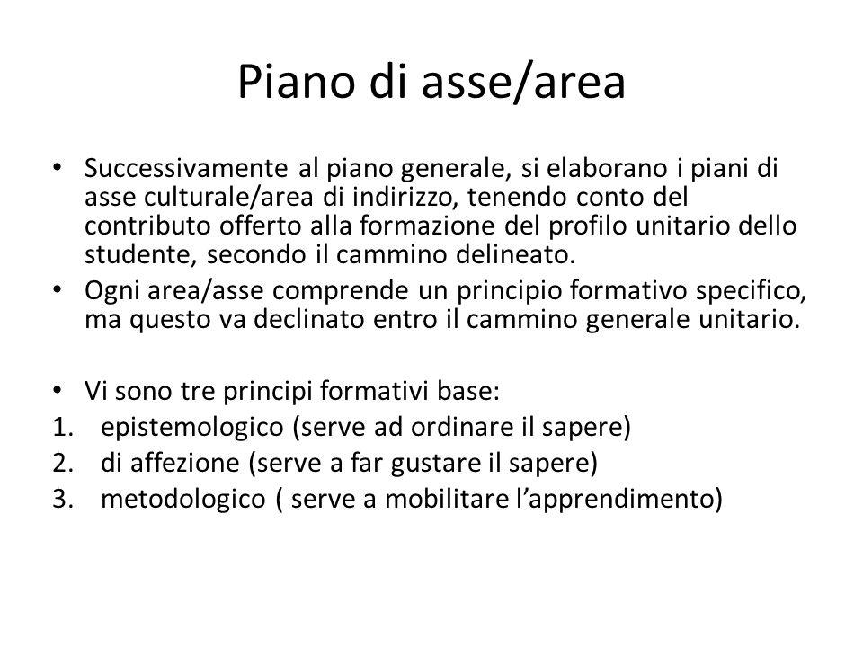 Piano di asse/area Successivamente al piano generale, si elaborano i piani di asse culturale/area di indirizzo, tenendo conto del contributo offerto a