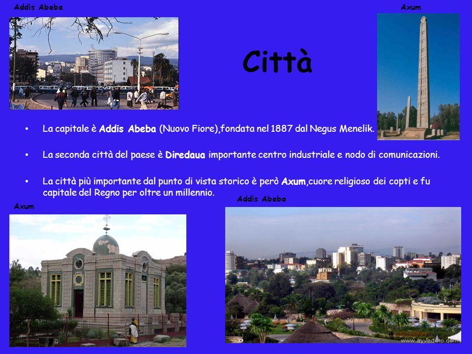 Città La capitale è Addis Abeba (Nuovo Fiore),fondata nel 1887 dal Negus Menelik. La seconda città del paese è Diredaua importante centro industriale