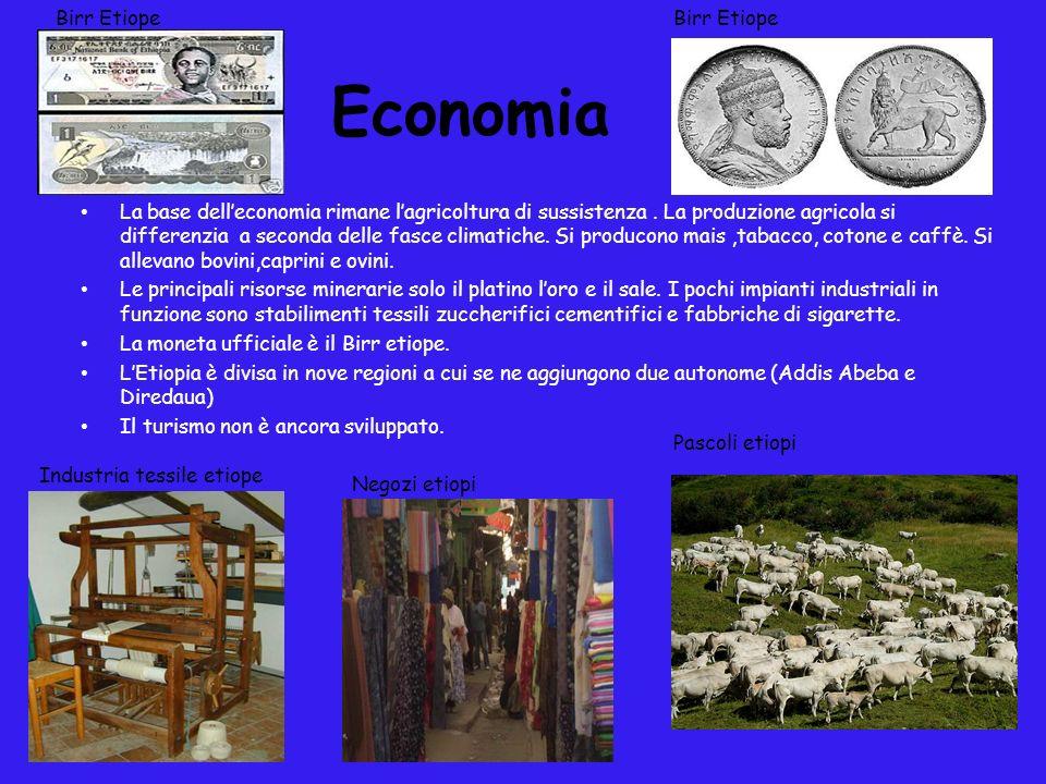 Economia La base delleconomia rimane lagricoltura di sussistenza. La produzione agricola si differenzia a seconda delle fasce climatiche. Si producono