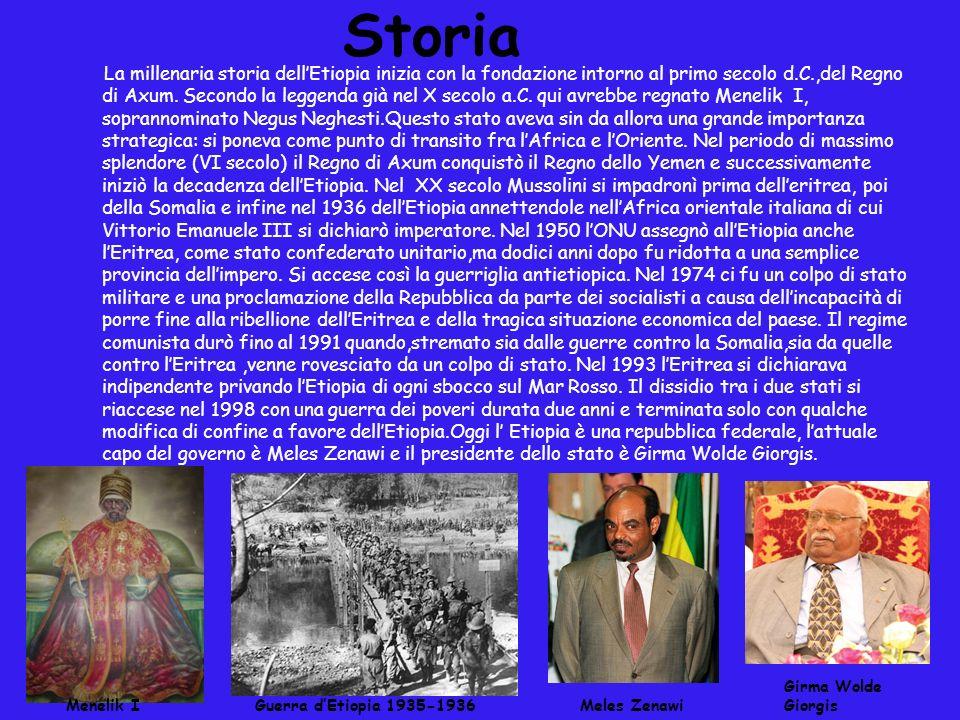 Storia La millenaria storia dellEtiopia inizia con la fondazione intorno al primo secolo d.C.,del Regno di Axum. Secondo la leggenda già nel X secolo
