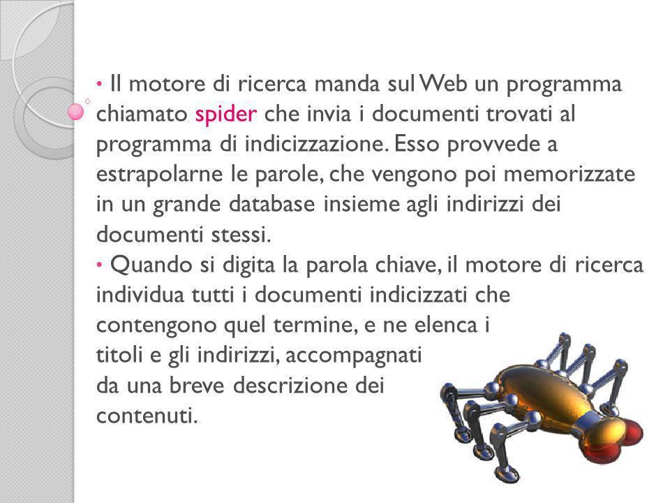 Il motore di ricerca manda sul Web un programma chiamato spider che invia i documenti trovati al programma di indicizzazione.