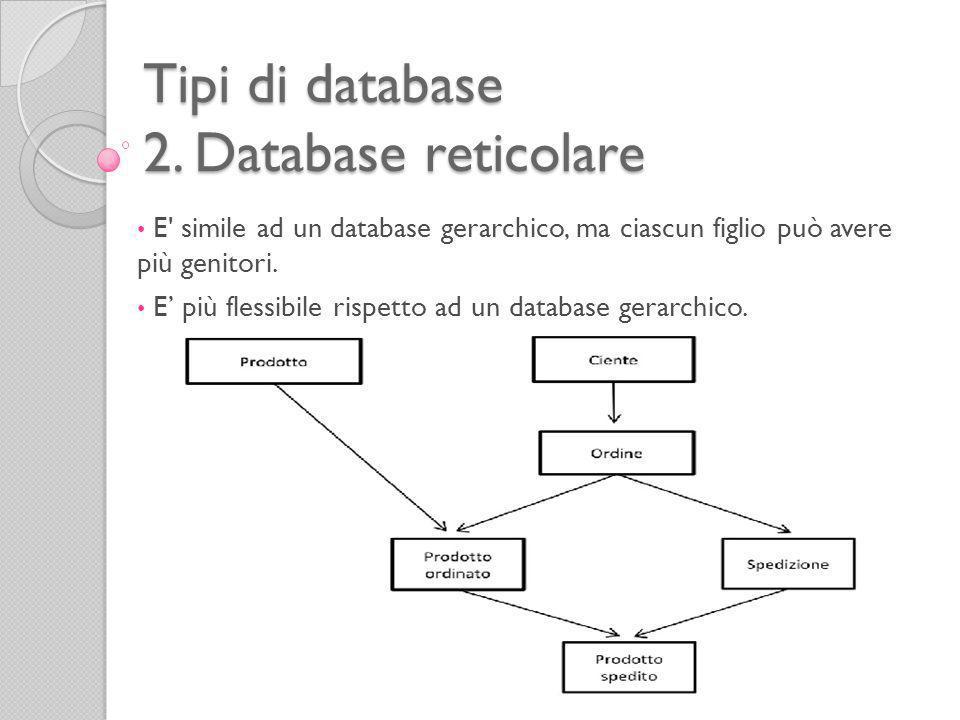 Tipi di database 3.Database relazionale Negli anni Settanta Edgard F.