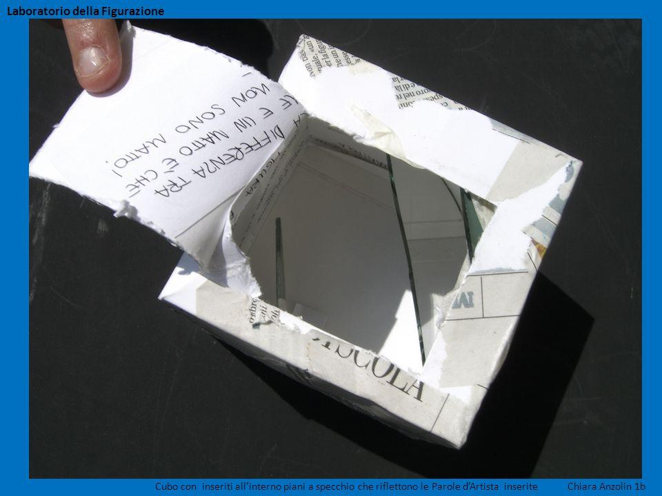 Cubo con inseriti allinterno piani a specchio che riflettono le Parole dArtista inserite Chiara Anzolin 1b Laboratorio della Figurazione