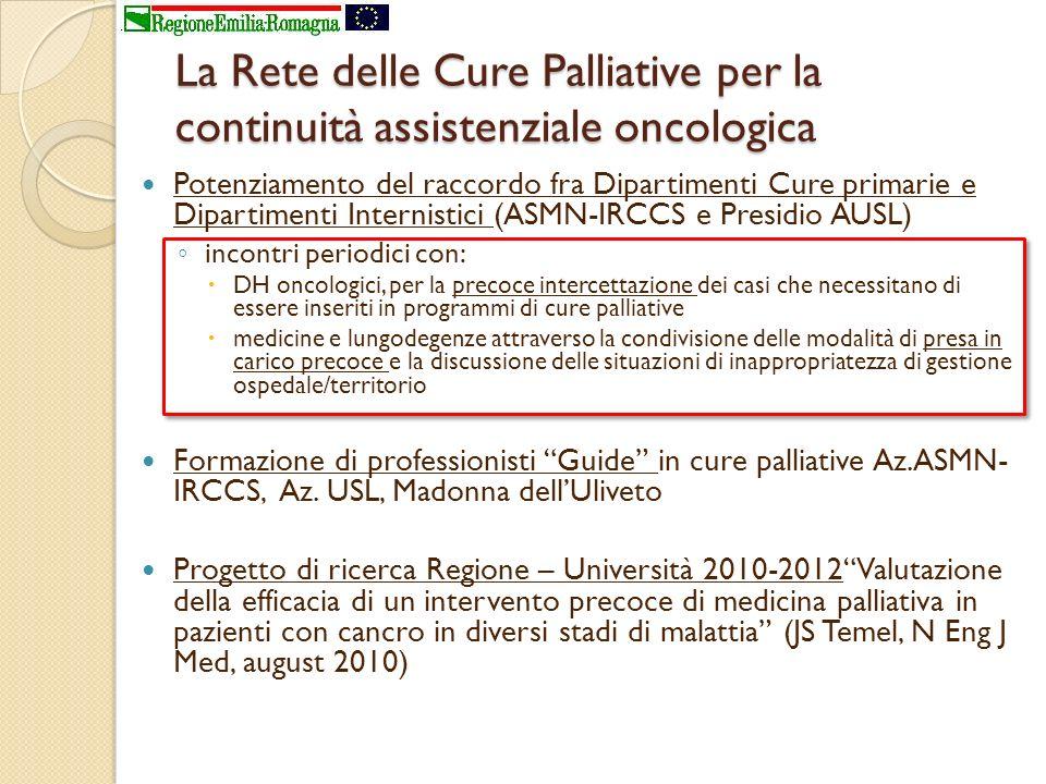 La Rete delle Cure Palliative per la continuità assistenziale oncologica Potenziamento del raccordo fra Dipartimenti Cure primarie e Dipartimenti Inte