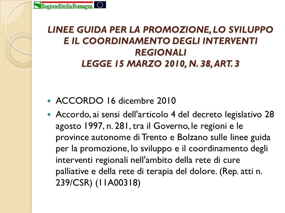 LINEE GUIDA PER LA PROMOZIONE, LO SVILUPPO E IL COORDINAMENTO DEGLI INTERVENTI REGIONALI LEGGE 15 MARZO 2010, N. 38, ART. 3 ACCORDO 16 dicembre 2010 A