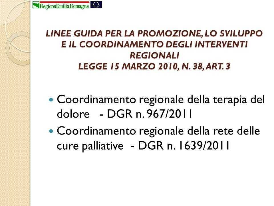 LINEE GUIDA PER LA PROMOZIONE, LO SVILUPPO E IL COORDINAMENTO DEGLI INTERVENTI REGIONALI LEGGE 15 MARZO 2010, N. 38, ART. 3 Coordinamento regionale de