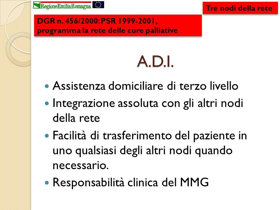 A.D.I. Assistenza domiciliare di terzo livello Integrazione assoluta con gli altri nodi della rete Facilità di trasferimento del paziente in uno quals