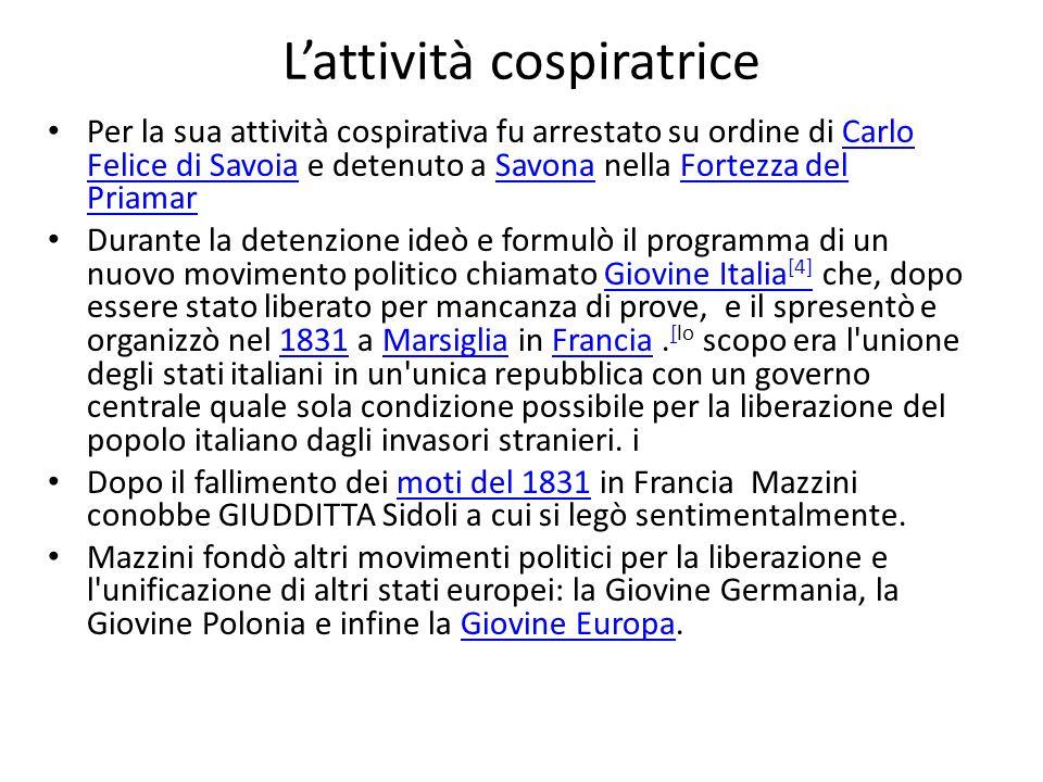 Lattività cospiratrice Per la sua attività cospirativa fu arrestato su ordine di Carlo Felice di Savoia e detenuto a Savona nella Fortezza del Priamar