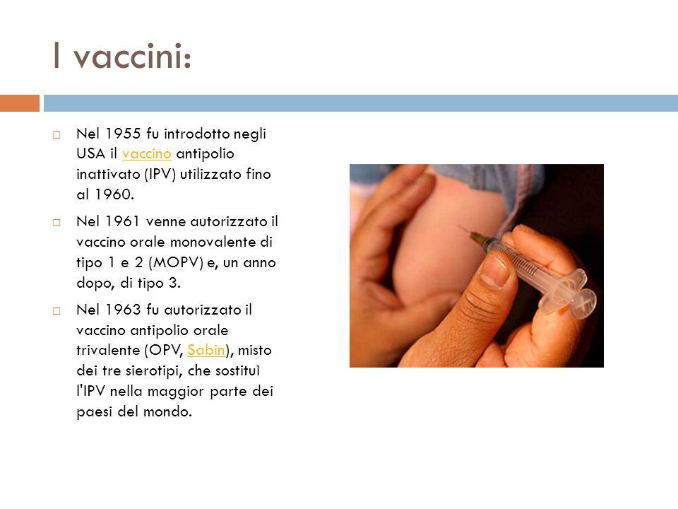 I vaccini: Nel 1955 fu introdotto negli USA il vaccino antipolio inattivato (IPV) utilizzato fino al 1960.vaccino Nel 1961 venne autorizzato il vaccin