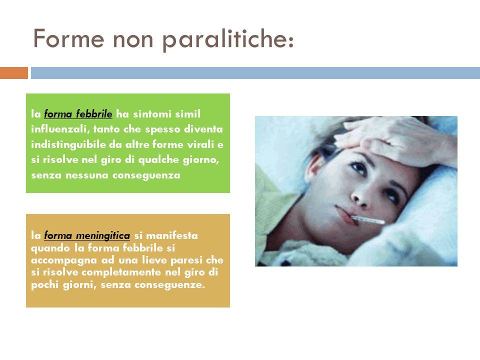 Forma paralitica(nel 10% dei casi): La paralisi può manifestarsi dopo 10 - 15 giorni dall inizio dei sintomi simil influenzali tipici della forma febbrile non paralitica, ma il più delle volte non è preceduta da malattia minore.