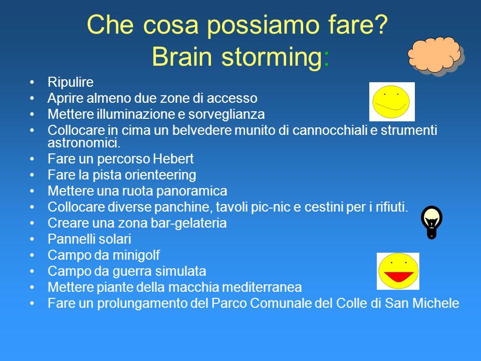 Che cosa possiamo fare? Brain storming: Ripulire Aprire almeno due zone di accesso Mettere illuminazione e sorveglianza Collocare in cima un belvedere