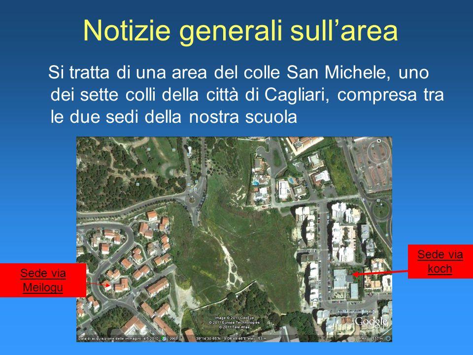 Notizie generali sullarea Si tratta di una area del colle San Michele, uno dei sette colli della città di Cagliari, compresa tra le due sedi della nos