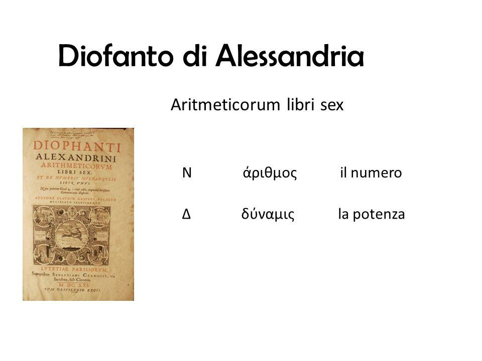Diofanto di Alessandria N άριθμος il numero Δ δύναμις la potenza Aritmeticorum libri sex