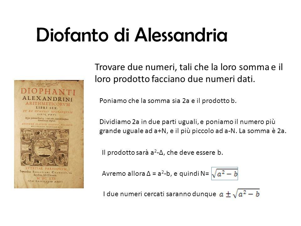 Diofanto di Alessandria Trovare due numeri, tali che la loro somma e il loro prodotto facciano due numeri dati.