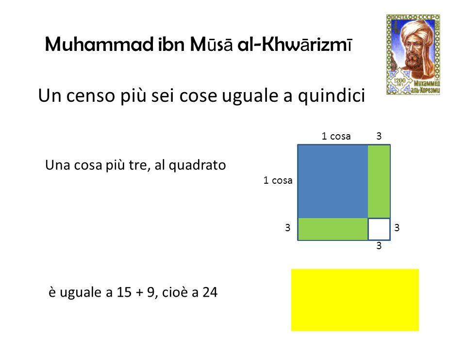 1 cosa 3 33 3 Una cosa più tre, al quadrato è uguale a 15 + 9, cioè a 24 Un censo più sei cose uguale a quindici Muhammad ibn M ū s ā al-Khw ā rizm ī